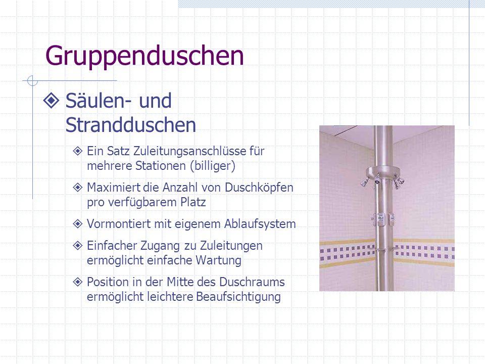 Gruppenduschen Säulen- und Strandduschen Ein Satz Zuleitungsanschlüsse für mehrere Stationen (billiger) Maximiert die Anzahl von Duschköpfen pro verfü