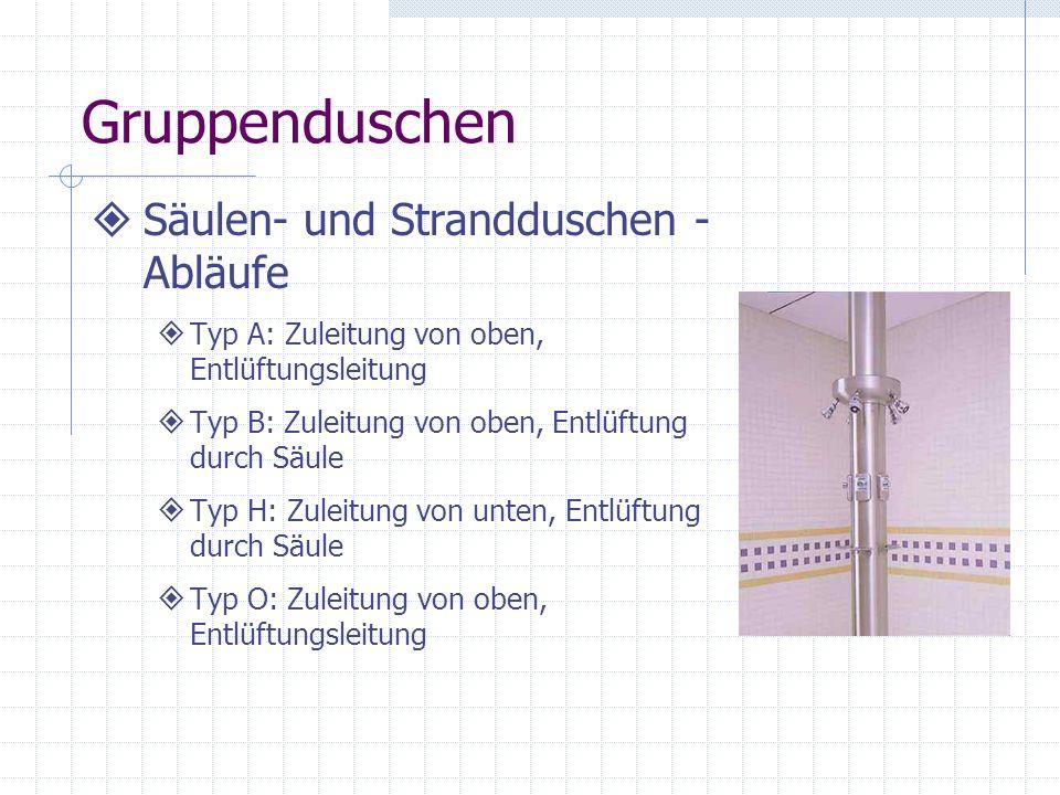 Gruppenduschen Säulen- und Strandduschen - Abläufe Typ A: Zuleitung von oben, Entlüftungsleitung Typ B: Zuleitung von oben, Entlüftung durch Säule Typ