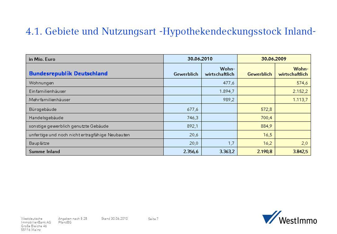 Angaben nach § 28 PfandBG Stand 30.06.2010Westdeutsche ImmobilienBank AG Große Bleiche 46 55116 Mainz Seite 8 4.2.