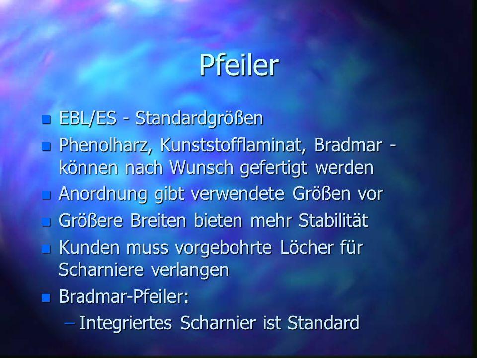 Pfeiler n EBL/ES - Standardgrößen n Phenolharz, Kunststofflaminat, Bradmar - können nach Wunsch gefertigt werden n Anordnung gibt verwendete Größen vo