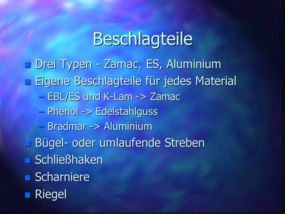 Beschlagteile n Drei Typen - Zamac, ES, Aluminium n Eigene Beschlagteile für jedes Material –EBL/ES und K-Lam -> Zamac –Phenol -> Edelstahlguss –Bradm