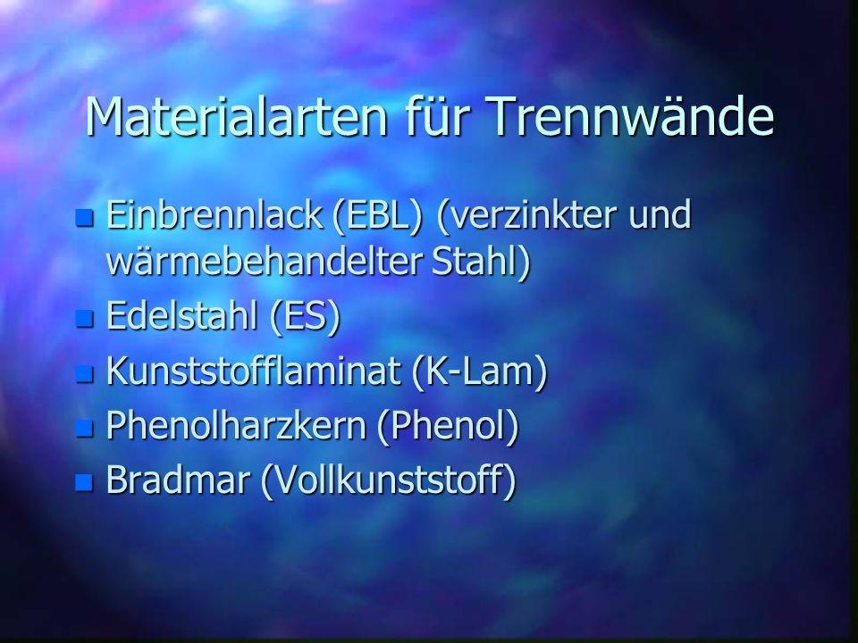 Materialarten für Trennwände n Einbrennlack (EBL) (verzinkter und wärmebehandelter Stahl) n Edelstahl (ES) n Kunststofflaminat (K-Lam) n Phenolharzker