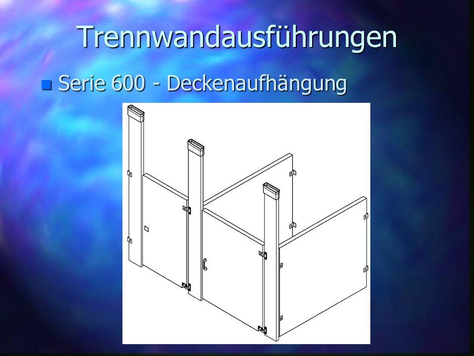 Trennwandausführungen n Serie 600 - Deckenaufhängung
