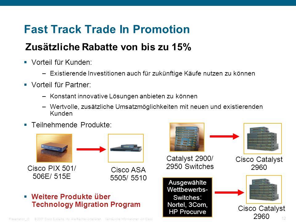 © 2007 Cisco Systems, Inc. Alle Rechte vorbehalten.Vertrauliche Informationen von CiscoPräsentation_ID 12 Fast Track Trade In Promotion Zusätzliche Ra