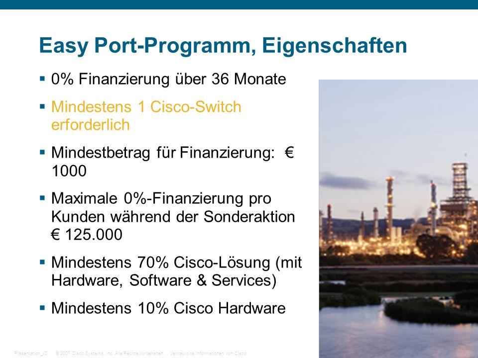 © 2007 Cisco Systems, Inc. Alle Rechte vorbehalten.Vertrauliche Informationen von CiscoPräsentation_ID 27 Easy Port-Programm, Eigenschaften 0% Finanzi