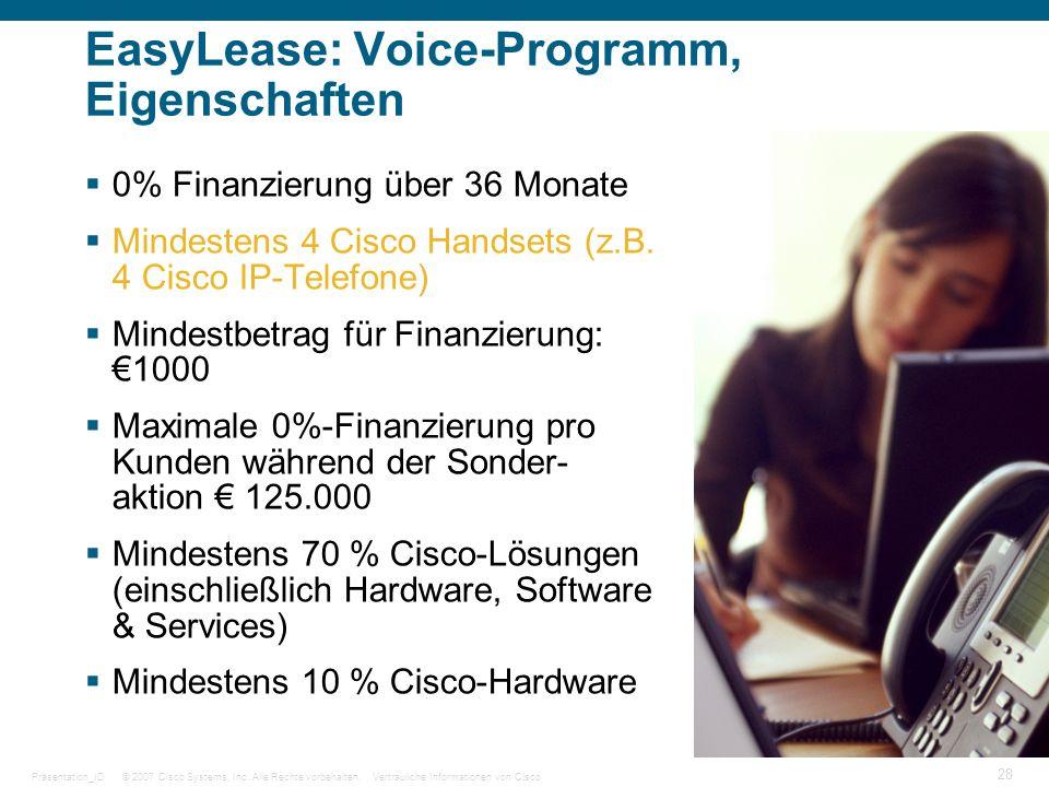 © 2007 Cisco Systems, Inc. Alle Rechte vorbehalten.Vertrauliche Informationen von CiscoPräsentation_ID 28 EasyLease: Voice-Programm, Eigenschaften 0%