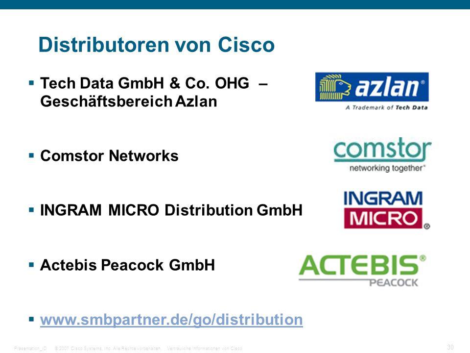 © 2007 Cisco Systems, Inc. Alle Rechte vorbehalten.Vertrauliche Informationen von CiscoPräsentation_ID 30 Distributoren von Cisco Tech Data GmbH & Co.