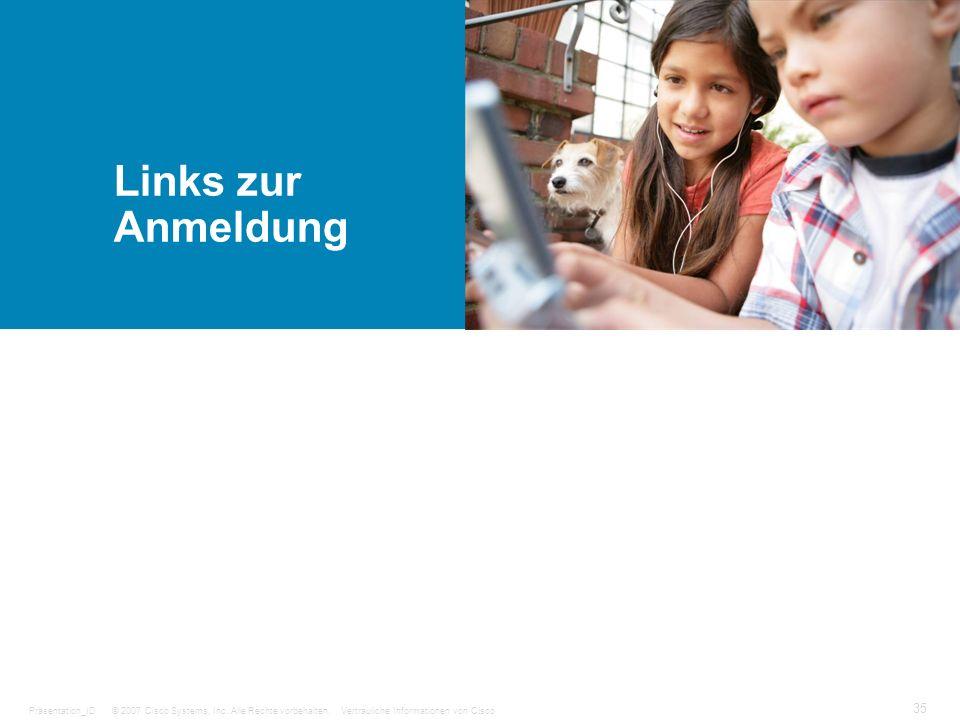 © 2007 Cisco Systems, Inc. Alle Rechte vorbehalten.Vertrauliche Informationen von CiscoPräsentation_ID 35 Links zur Anmeldung