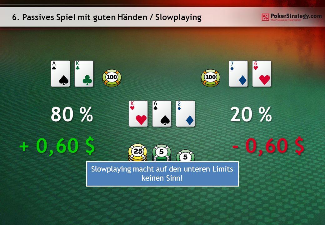 6. Passives Spiel mit guten Händen / Slowplaying 80 % 20 % + 0,60 $ - 0,60 $ Slowplaying macht auf den unteren Limits keinen Sinn!