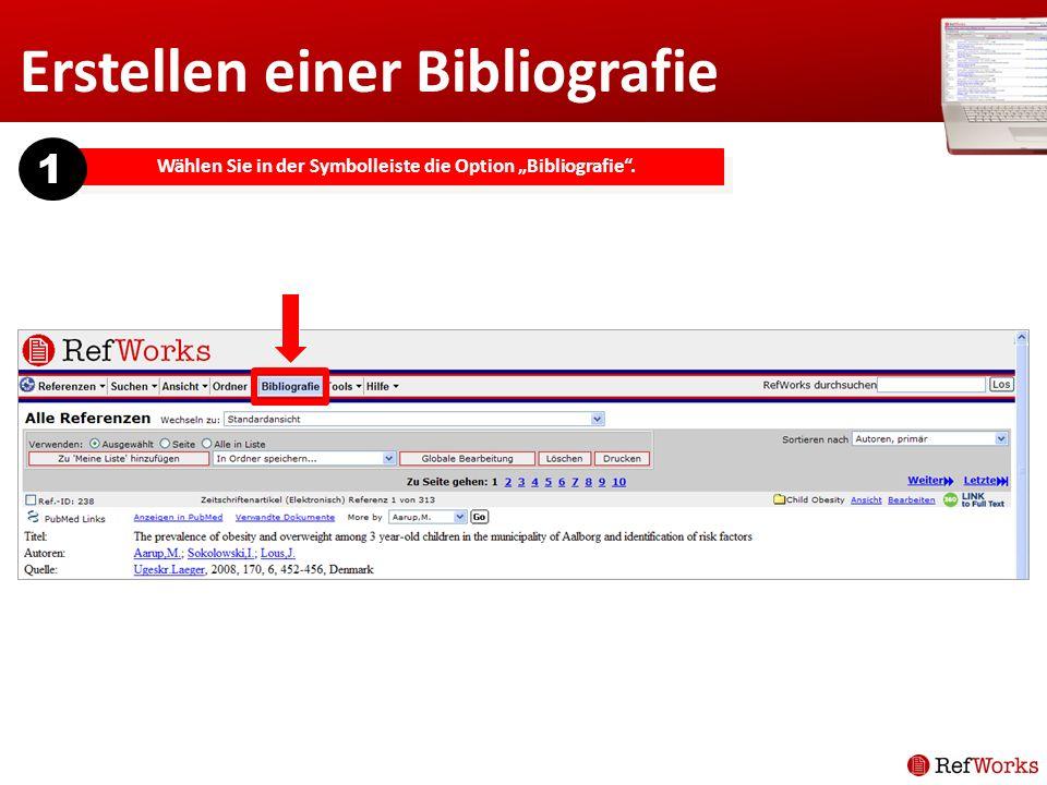 Wählen Sie in der Symbolleiste die Option Bibliografie. 1