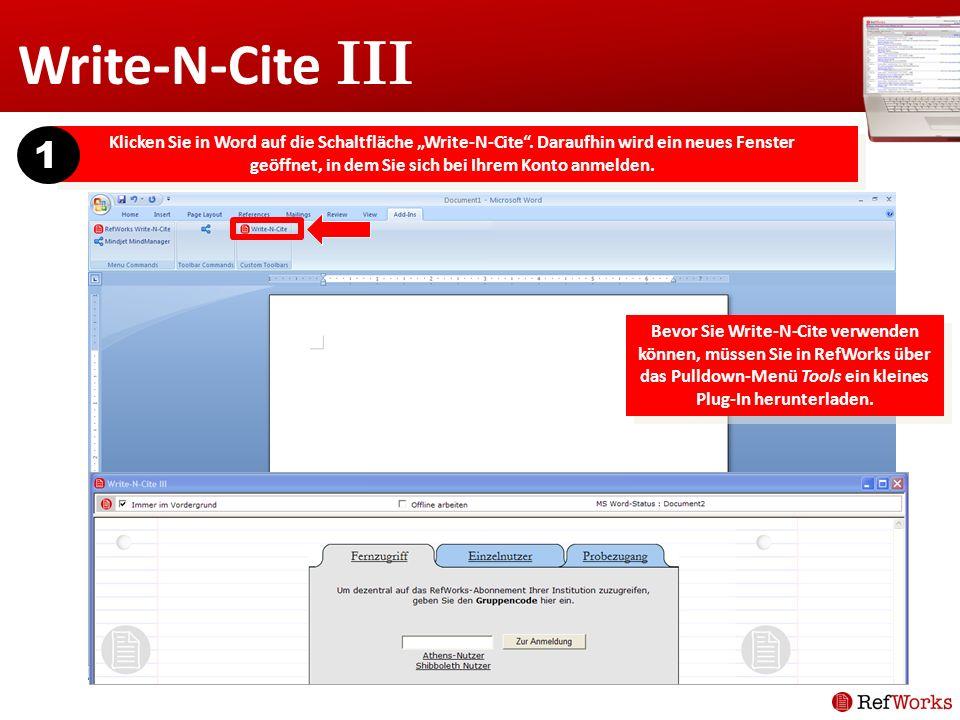 Klicken Sie in Word auf die Schaltfläche Write-N-Cite. Daraufhin wird ein neues Fenster geöffnet, in dem Sie sich bei Ihrem Konto anmelden. 1 Bevor Si