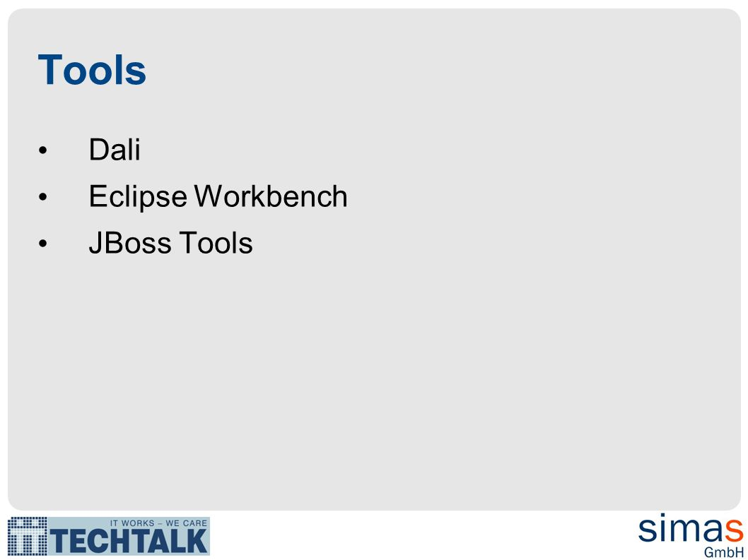 Tools Dali Eclipse Workbench JBoss Tools