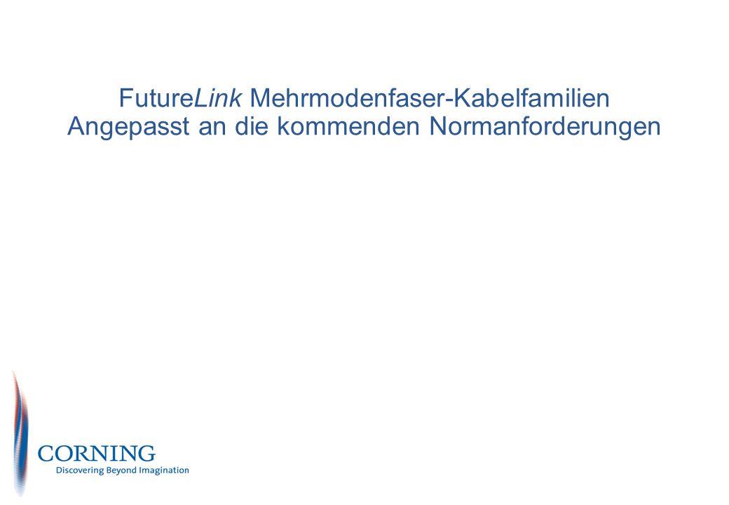 Corning Cable System S&M PN EU & Intl Marketing Enterprise Solutions Corning restricted 3 Angepasste FutureLink Mehrmodenfaser-Kabelfamilien Die Mehrmodenkabel sind in der ISO/IEC 11801 (2002) und EN 50173-1 (2002) klassifiziert in OM1, OM2 und OM3 Entsprechend der erforderlichen Übertragungsstreckenklasse (OF-300, 500 oder 2000) und des Übertragungsprotokolls ist die notwendige Kabelkategorien definiert Der bisherige 50µm Standardfasertyp in Europa (400/1200 MHz x km) ist zukünftig nicht mehr standardkonform.