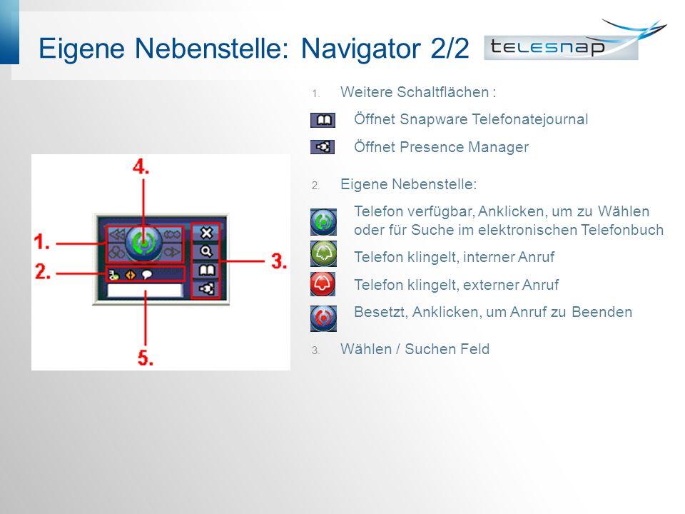 Eigene Nebenstelle: Navigator 2/2 1.