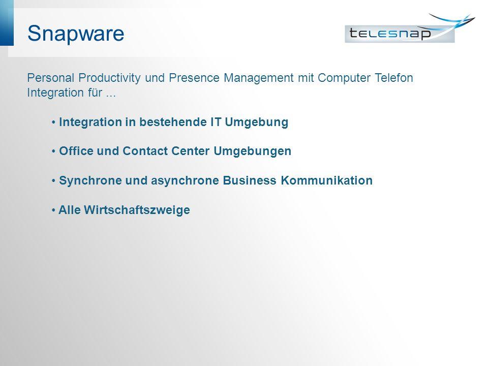 Snapware Personal Productivity und Presence Management mit Computer Telefon Integration für...