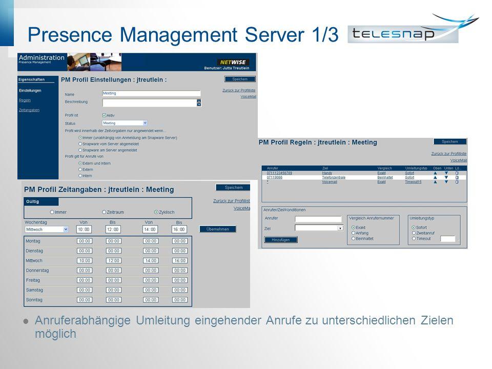 Presence Management Server 1/3 Anruferabhängige Umleitung eingehender Anrufe zu unterschiedlichen Zielen möglich