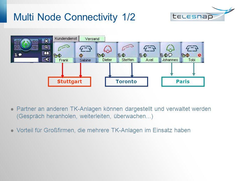 Multi Node Connectivity 1/2 Partner an anderen TK-Anlagen können dargestellt und verwaltet werden (Gespräch heranholen, weiterleiten, überwachen...) Vorteil für Großfirmen, die mehrere TK-Anlagen im Einsatz haben ParisTorontoStuttgart