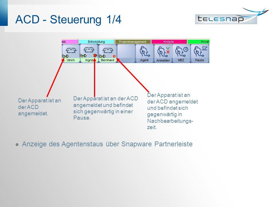 ACD - Steuerung 1/4 Anzeige des Agentenstaus über Snapware Partnerleiste Der Apparat ist an der ACD angemeldet und befindet sich gegenwärtig in einer Pause.