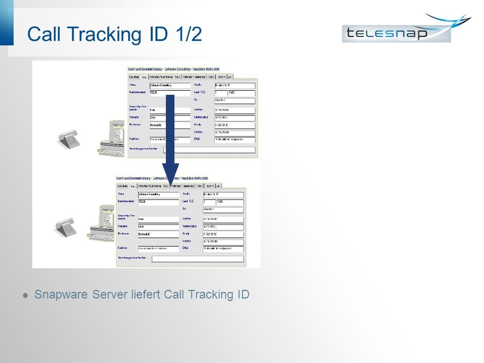 Call Tracking ID 1/2 Snapware Server liefert Call Tracking ID