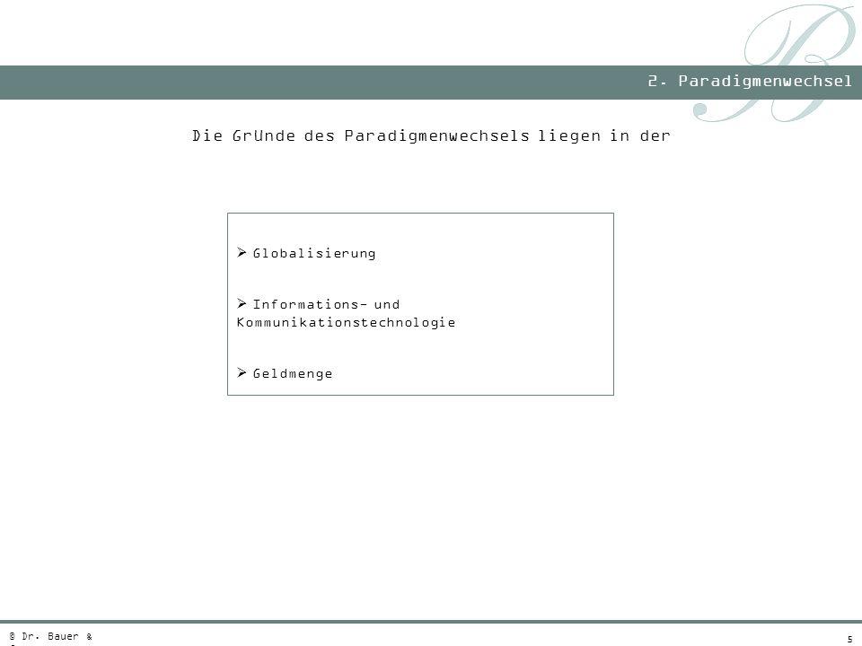 5 Die Gründe des Paradigmenwechsels liegen in der Globalisierung Informations- und Kommunikationstechnologie Geldmenge 2. Paradigmenwechsel © Dr. Baue