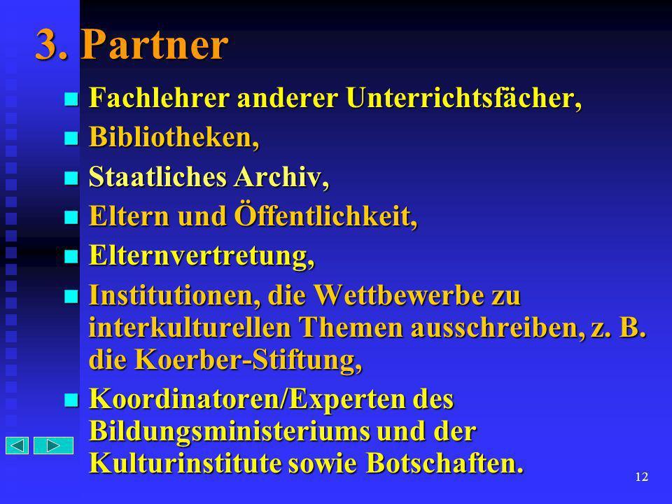 12 3. Partner Fachlehrer Fachlehrer anderer Unterrichtsfächer, Bibliotheken, Bibliotheken, Staatliches Staatliches Archiv, Eltern Eltern und Öffentlic