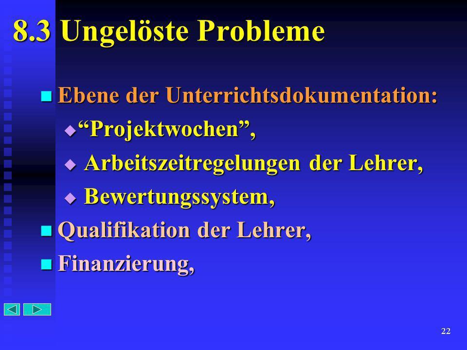 22 8.3 Ungelöste Probleme Ebene der Unterrichtsdokumentation: Projektwochen, A Arbeitszeitregelungen der Lehrer, B Bewertungssystem, Qualifikation der