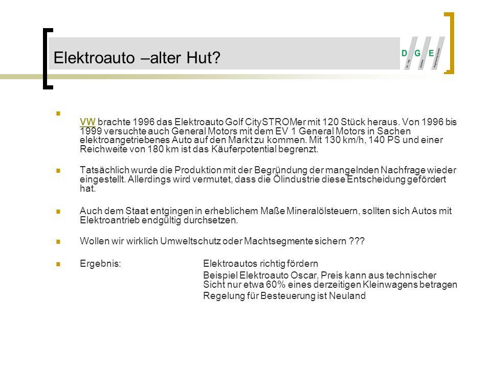 Elektroauto –alter Hut? VW brachte 1996 das Elektroauto Golf CitySTROMer mit 120 Stück heraus. Von 1996 bis 1999 versuchte auch General Motors mit dem