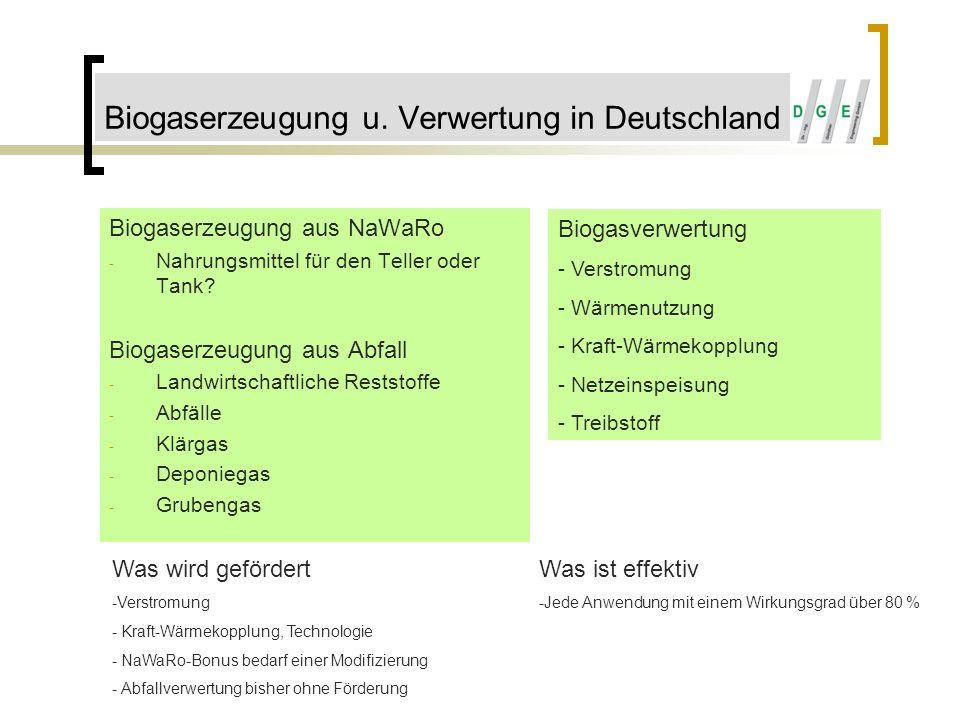 Biogaserzeugung u. Verwertung in Deutschland Biogaserzeugung aus NaWaRo - Nahrungsmittel für den Teller oder Tank? Biogaserzeugung aus Abfall - Landwi