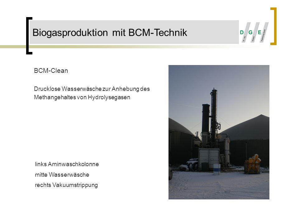 BCM-Clean Drucklose Wasserwäsche zur Anhebung des Methangehaltes von Hydrolysegasen links Aminwaschkolonne mitte Wasserwäsche rechts Vakuumstrippung