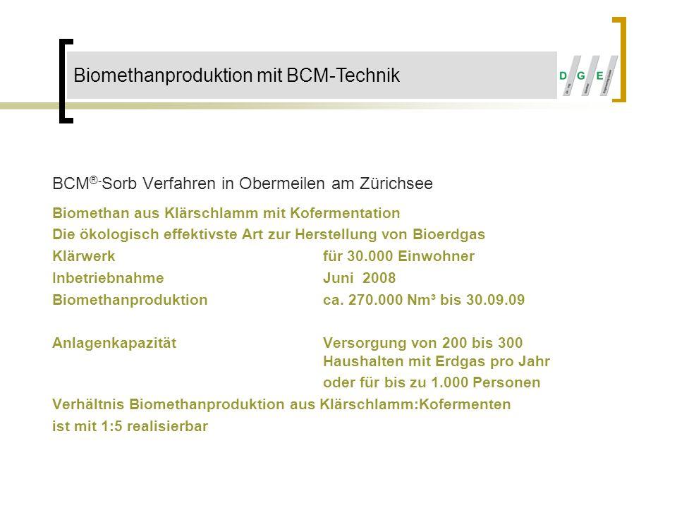 BCM ®- Sorb Verfahren in Obermeilen am Zürichsee Biomethan aus Klärschlamm mit Kofermentation Die ökologisch effektivste Art zur Herstellung von Bioer
