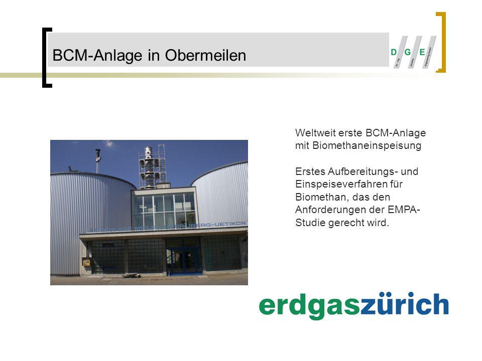 BCM-Anlage in Obermeilen Weltweit erste BCM-Anlage mit Biomethaneinspeisung Erstes Aufbereitungs- und Einspeiseverfahren für Biomethan, das den Anford
