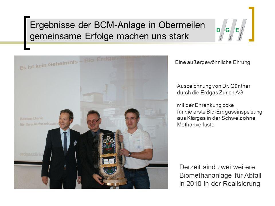 Ergebnisse der BCM-Anlage in Obermeilen gemeinsame Erfolge machen uns stark Auszeichnung von Dr. Günther durch die Erdgas Zürich AG mit der Ehrenkuhgl
