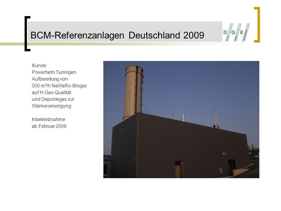 BCM-Referenzanlagen Deutschland 2009 Kunde Powerfarm Tuningen Aufbereitung von 500 m³/h NaWaRo-Biogas auf H-Gas-Qualität und Deponiegas zur Wärmeverso
