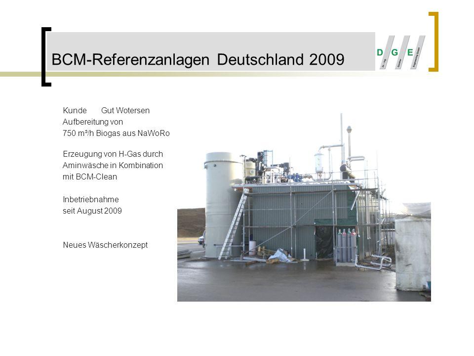 BCM-Referenzanlagen Deutschland 2009 KundeGut Wotersen Aufbereitung von 750 m³/h Biogas aus NaWoRo Erzeugung von H-Gas durch Aminwäsche in Kombination