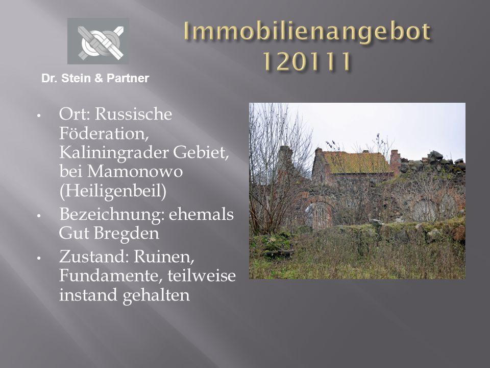 Ort: Russische Föderation, Kaliningrader Gebiet, bei Mamonowo (Heiligenbeil) Bezeichnung: ehemals Gut Bregden Zustand: Ruinen, Fundamente, teilweise i