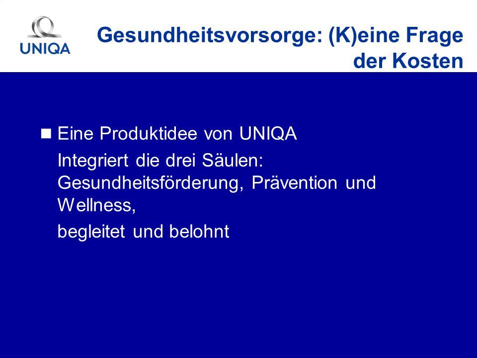 Eine Produktidee von UNIQA Integriert die drei Säulen: Gesundheitsförderung, Prävention und Wellness, begleitet und belohnt Gesundheitsvorsorge: (K)ei