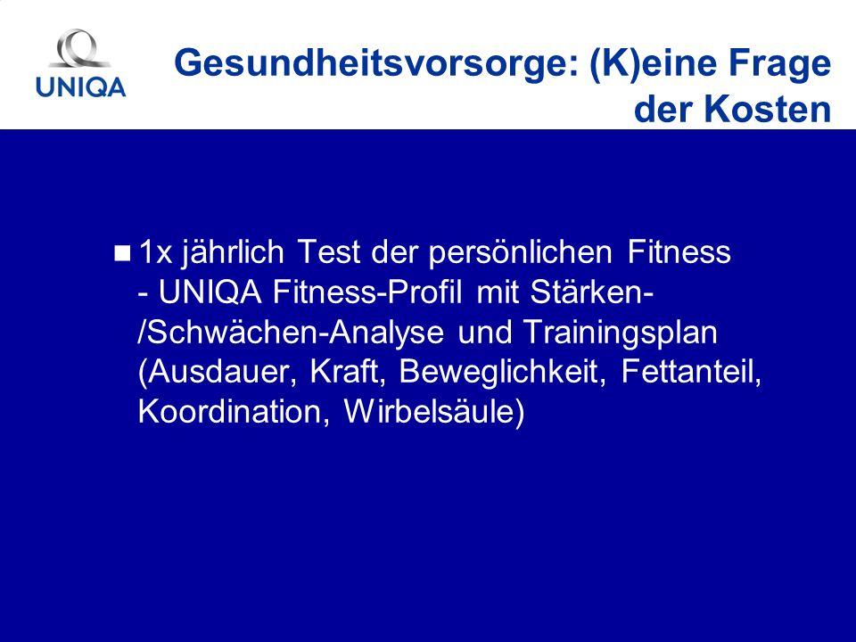 1x jährlich Test der persönlichen Fitness - UNIQA Fitness-Profil mit Stärken- /Schwächen-Analyse und Trainingsplan (Ausdauer, Kraft, Beweglichkeit, Fe