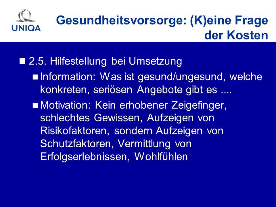 2.5. Hilfestellung bei Umsetzung Information: Was ist gesund/ungesund, welche konkreten, seriösen Angebote gibt es.... Motivation: Kein erhobener Zeig