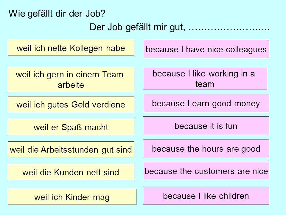 Der Job gefällt mir gut, …………………….. weil ich nette Kollegen habe weil ich gern in einem Team arbeite weil ich gutes Geld verdiene weil er Spaß macht w