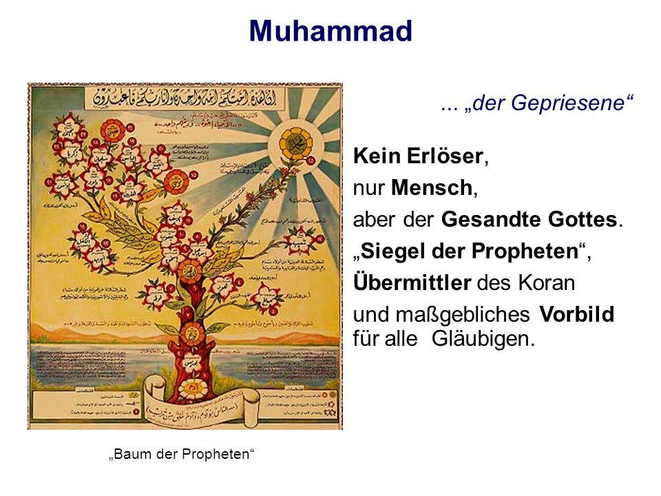 Muhammad... der Gepriesene Kein Erlöser, nur Mensch, aber der Gesandte Gottes. Siegel der Propheten, Übermittler des Koran und maßgebliches Vorbild fü