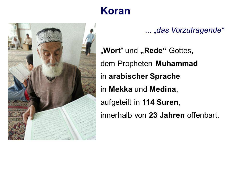 Koran... das Vorzutragende Wort und Rede Gottes, dem Propheten Muhammad in arabischer Sprache in Mekka und Medina, aufgeteilt in 114 Suren, innerhalb