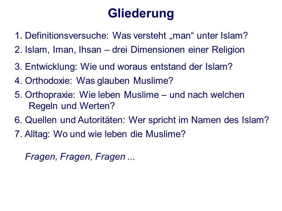 Gliederung 1. Definitionsversuche: Was versteht man unter Islam? 2. Islam, Iman, Ihsan – drei Dimensionen einer Religion 3. Entwicklung: Wie und worau