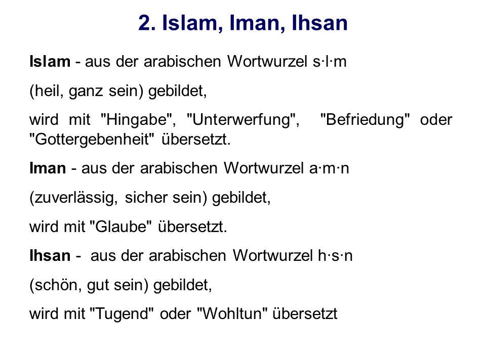 2. Islam, Iman, Ihsan Islam - aus der arabischen Wortwurzel s·l·m (heil, ganz sein) gebildet, wird mit