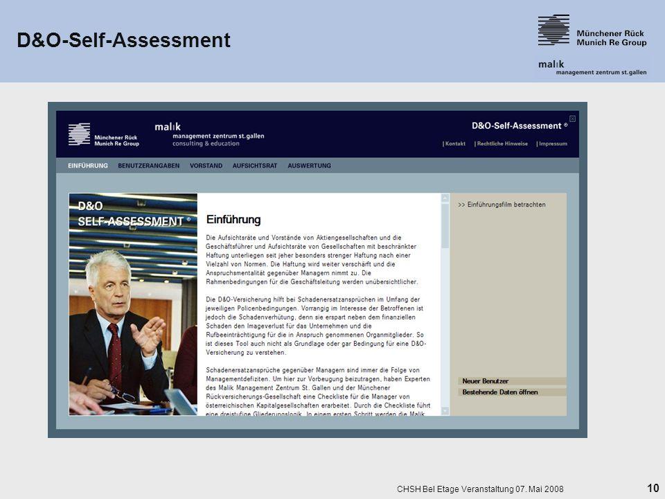 10 CHSH Bel Etage Veranstaltung 07. Mai 2008 D&O-Self-Assessment