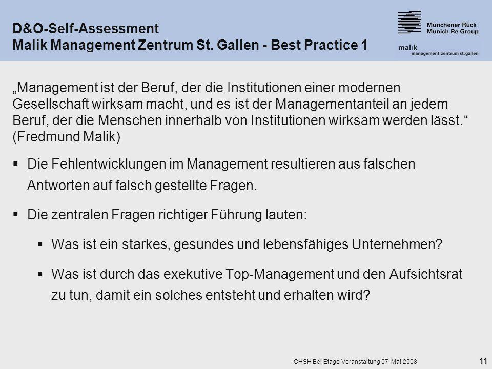 11 CHSH Bel Etage Veranstaltung 07. Mai 2008 D&O-Self-Assessment Malik Management Zentrum St. Gallen - Best Practice 1 Management ist der Beruf, der d