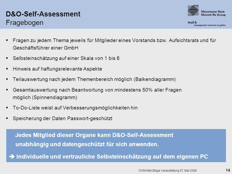 14 CHSH Bel Etage Veranstaltung 07. Mai 2008 D&O-Self-Assessment Fragebogen Fragen zu jedem Thema jeweils für Mitglieder eines Vorstands bzw. Aufsicht