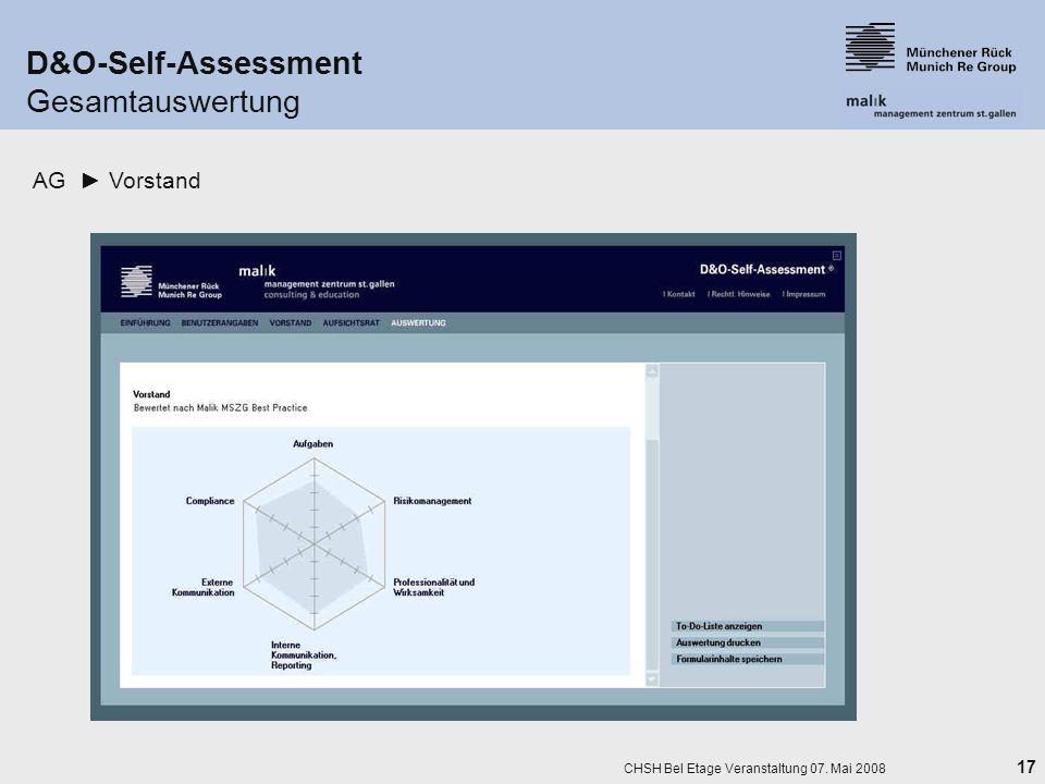 17 CHSH Bel Etage Veranstaltung 07. Mai 2008 D&O-Self-Assessment Gesamtauswertung AG Vorstand