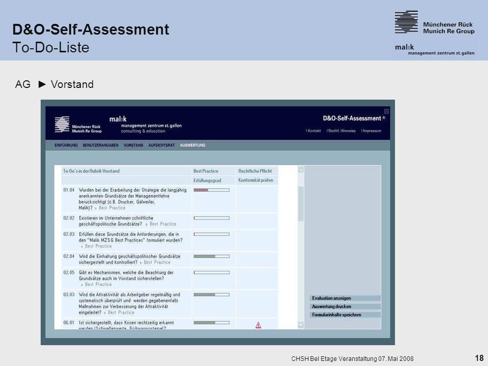18 CHSH Bel Etage Veranstaltung 07. Mai 2008 D&O-Self-Assessment To-Do-Liste AG Vorstand