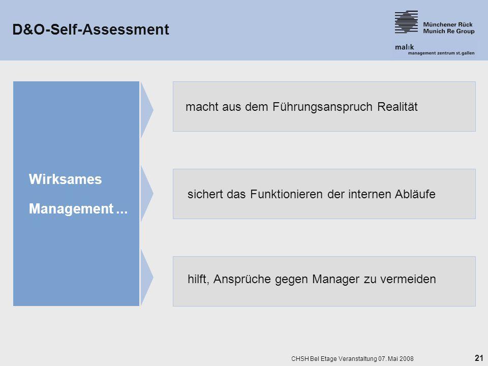 21 CHSH Bel Etage Veranstaltung 07. Mai 2008 D&O-Self-Assessment hilft, Ansprüche gegen Manager zu vermeiden Wirksames Management... macht aus dem Füh