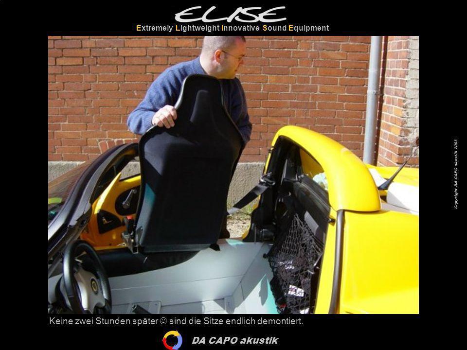 DA CAPO akustik Extremely Lightweight Innovative Sound Equipment Copyright DA CAPO akustik 2003 Richtig Platz in der Elli…
